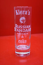 Laser Engraved Highball Names Russian Standard Vodka & Coke Lemonade Personalise