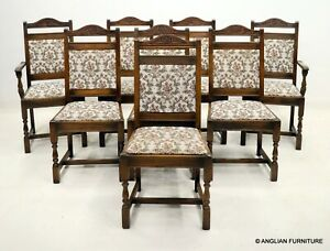 8 Old Charm Wood Bros Dining Chairs Tapestry Fabric Light Oak FREE UK Delivery*