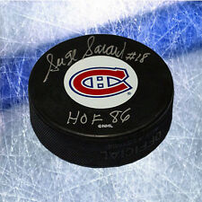 Serge Savard Montreal Canadiens Signed Hockey Puck with HOF Inscription
