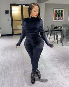 Fashion Women's Solid Long Sleeves Patchwork Bodycon Velvet Long Jumpsuit Party