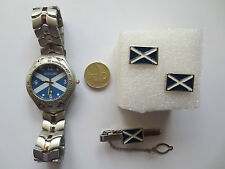 Rugby Football Scotland Wrist Watch Tie Pin and Cufflinks set patriotic set