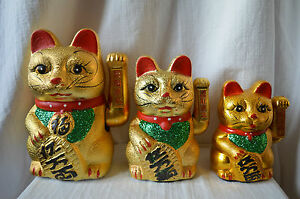 Ceramic Chinese Waving Hand Lucky Money Cat feng shui wealth fortune arm neko UK