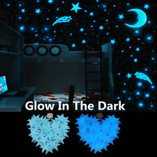 100Pcs Stars and Moon Glow In The Dark Wall Stickers Kid Bedroom Ceiling Decor