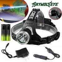 XM-L T6 LED Focus Headlight Head Lamp Zoomable Waterproof  2x18650  Charger