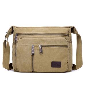 Men Briefcase Work School Satchel Handbag Crossbody Canvas Shoulderbag Messenger