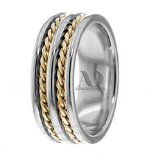 14K Two Tone Double Twist Ropes Design Men's Handmade Wedding Band Ring 8mm Wide
