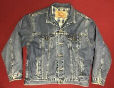 Rare Vintage Levis Denim Jacket Blue & Green Plaid Flannel Lined Made USA Large
