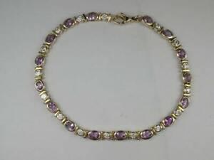 hcr31) Goldarmband Armband weiße / lila  Steine Länge 19 cm Gold 333/-