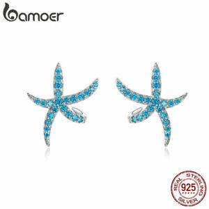 BAMOER Women Stud Earrings S925 Sterling Silver Blue AAA Zircon Starfish Jewelry