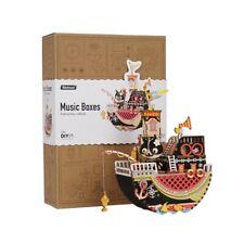 Robotime DIY Fishing Kitty Wooden Puzzle Mechanical Music Box Birthday Gift Girl