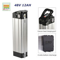 48V Electric Bicycle Battery Pack 12Ah 350W Silver Fish E-bike Lithium with BMS