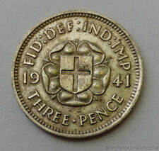 1941 Great Britain Three Pence .500 Silver Coin