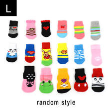 Assorted Pattern Pet Dog Puppy Cat Non-slip Shoes Slippers Socks 4pcs Useful Small