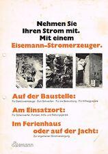 Eisemann- Stromerzeuger, orig. Prospekt 60er Jahre