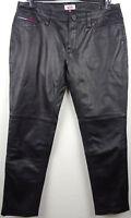 TOMMY HILFIGER Lederhose Damen Leather Pants Hose Black Gr.31/32 NEU mit ETIKETT