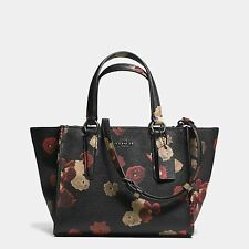 NWT COACH 33856 CROSBY MINI CARRYALL SATCHEL FLORAL PRINT BLACK MULTI LEATHER