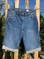 Womens Mid Denim or Dark Denim Knee or Mid Length Boyfriend Summer Shorts