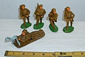 COMPOSITION WWI ARMY SOLDIERS FIGURE X5 1930s