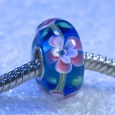 "Single Core European Murano Lampwork Style Glass Bead-""Turquoise Pink Rose"""