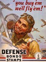 PROPAGANDA WAR WWII PILOT AIR FORCE BOND DEFENSE FIGHTER JET PRINT LV3759