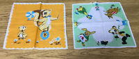 "Lot of 2 Vintage Children's Hankies Handkerchiefs With Dogs on Them 9.75""x9.75"""