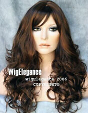 Brown Auburn Mix Wig WOW Long Wavy Curly  WACA 6-30 with Bangs