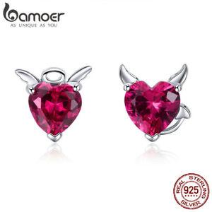 BAMOER S925 Sterling Silver Stud Earrings Angel And Devil with Zircon For Women
