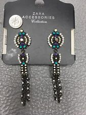 Authentic Nwt Zara Earring Drop Blue Green Purple Antiques Look