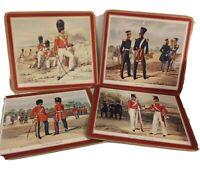 """Pimpernel Placemats British Uniforms Cork Backs Set of 4. 8 5/8"""" x 7 5/8 Vtg"""