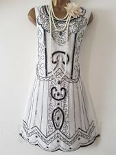 BOOHOO 20'S GATSBY FLAPPER CHARLESTON SEQUIN BEAD EMBELLISHED DRESS SZ UK12