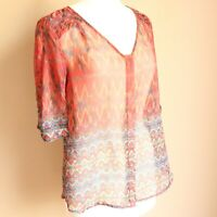 Skies Are Blue Stitch Fix Top Short Sleeve Sheer Blouse Red Button Small