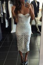 Vestido Ceñido de Encaje Blanco Ropa de club nocturno Moda Noche Ropa Talla M L