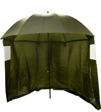 """Q Dos 45"""" Fishing Umbrella/Brolly with Zip On Sides GREEN"""