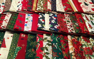 """CHRISTMAS 100% COTTON FABRIC 40 x 5"""" CHARM PACK SQUARES CRAFT SEWING BAUBLES SEW"""