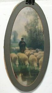 """R.HILL """"THE SHEPHERD"""" OLD COLOR PRINT FRAMED DATED 1904"""