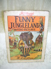 ANTIQUE CHILD'S FLIP BOOK FUNNY JUNGLELAND MOVING PICTURE W. K. KELLOGG 1909