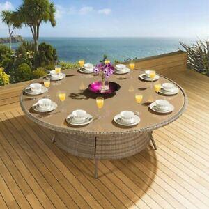 Massive Luxury Garden / Outdoor Round Dining Table Brown Rattan 2.0mtr