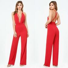 BEBE RED DOUBLE STRAPPY PLUNGE JUMPSUIT ROMPER NEW $159 MEDIUM M