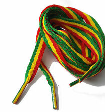 Rasta Jamaican Multi Coloured Flat 10mm Shoes Trainers Extra Long Jamaica New
