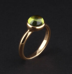 Georg Jensen 18 Carat Yellow Gold Moonrise Ring with Peridot # 1567B, David Chu