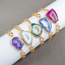 Similar 1 Strand Multi-Color Agate Druzy Slice Bracelet Gold Plated AG0175