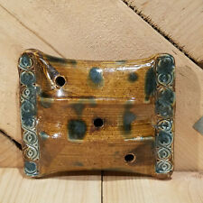 Blue & Brown Pillow Shaped Clay Incense Burner with 3 Holes - Swanky Barn