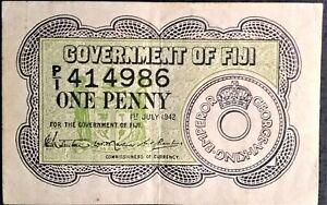 BRITISH FIJI 1 Penny Choice Crisp gEF P 47 1942 WW2 WWII