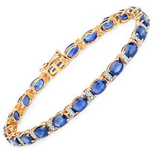 14K Yellow Gold Bracelet Blue Sapphire Diamond 12.36 ct Gemstone 7 inches