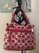 COACH POPPY SIGNATURE GLAM LARGE TOTE 18979 PINK/MAGENTA