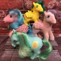 4 Vintage 1980s My Little Pony G1 MLP Hasbro BAIT Ponies Flawed So Soft Pegasus