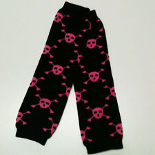 USA SELLER BABY LEG WARMERS, One Size Fits All - W001 - Black Pink Skulls