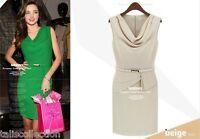 Elegant Cocktail Party Evening Blouson Apricot or Green Dress with Belt 3186