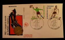 MONACO PREMIER JOUR FDC YVERT 1312+1315      COUPE FOOTBALL       4+1F      1982