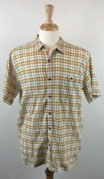 Mens Patagonia Organic Cotton Short Sleeve Button Up Hiking Large Yellow Brown